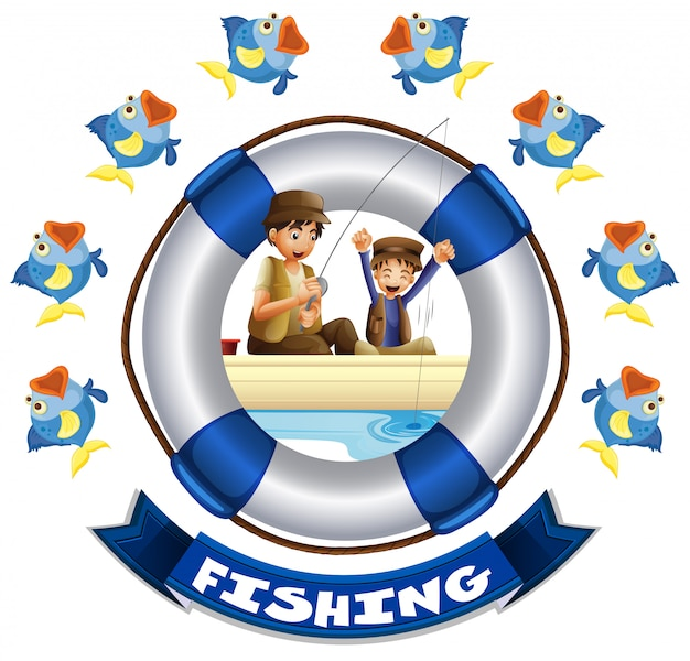 Travel theme with people fishing Free Vector