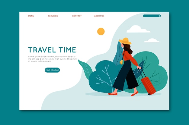 Travel time female with luggage landing page Free Vector