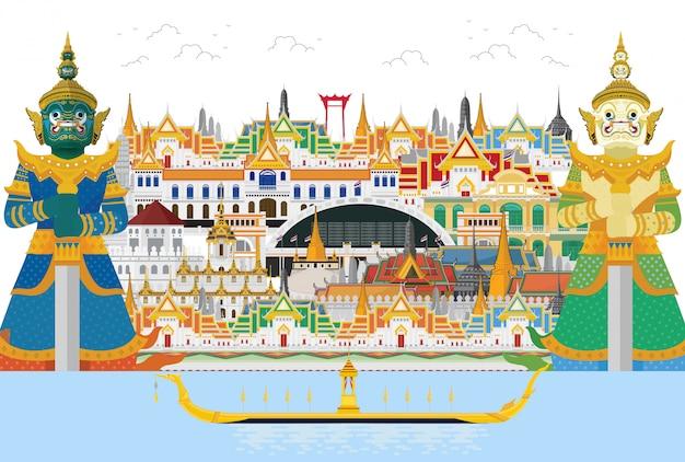 Путешествие в таиланд и guardian giant в таиланде и достопримечательности, Premium векторы