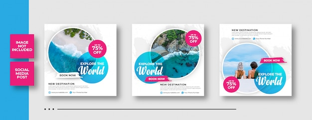 Travel tour instagram post banner Premium Vector