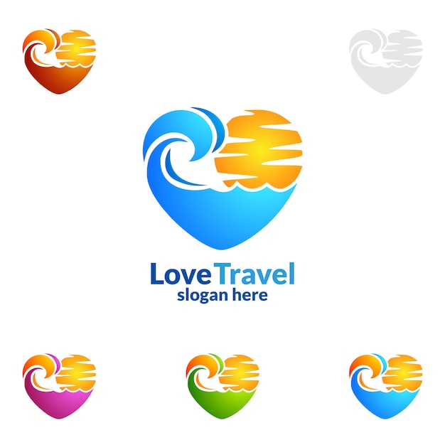 Travel and tour logo with love, sun and beach concept Premium Vector
