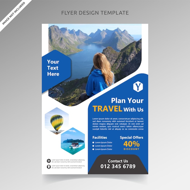 Travel tour and vacation flyer template Premium Vector