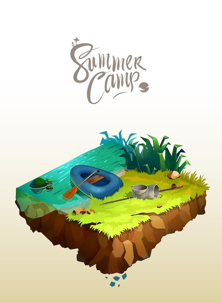 Travel and tourism concept. natural landscape with holiday camp near a lake. vector isometric 3d illustration. Premium Vector