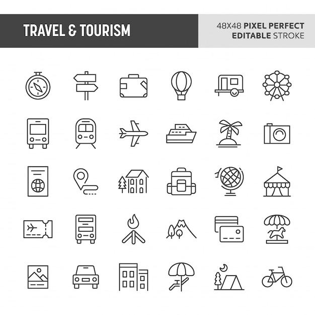 Travel & tourism  icon set Premium Vector