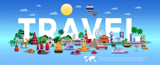 Travel and tourism illustration with resort and sightseeing elements Free Vector
