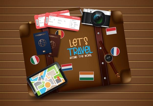 Travel and tourism illustration Premium Vector