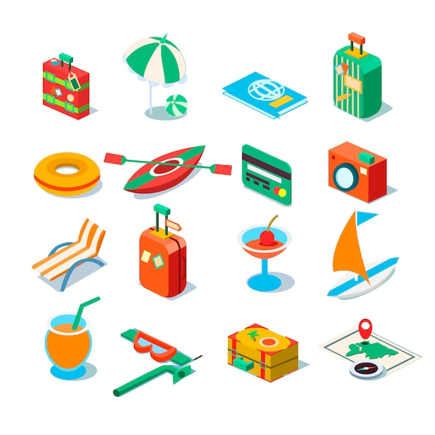 Travel, tourism and journey objects Premium Vector