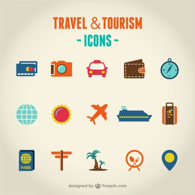Travel and tourism set of icons Free Vector