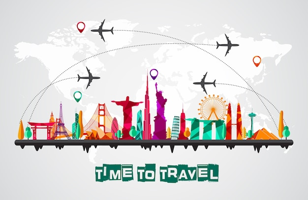 Travel and tourism of silhouettes icons background Vector ...