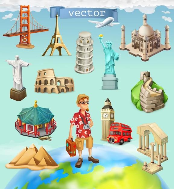 旅行、観光名所。背景に設定されたアイコン Premiumベクター
