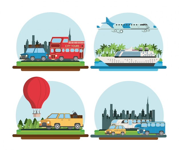 Travel and transport cartoons Premium Vector