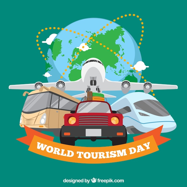 Travel transport, world tourism day Free Vector