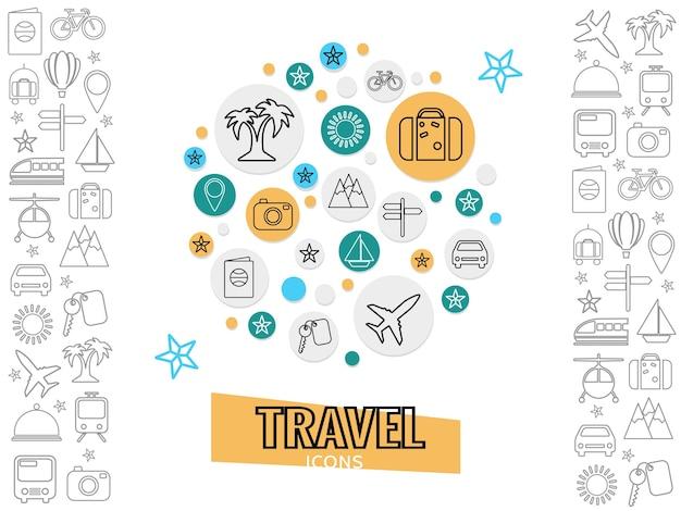 Concetto di viaggio e trasporto con macchina fotografica chiave della barca dell'aeroplano del bus della bicicletta dei bagagli della palma Vettore gratuito