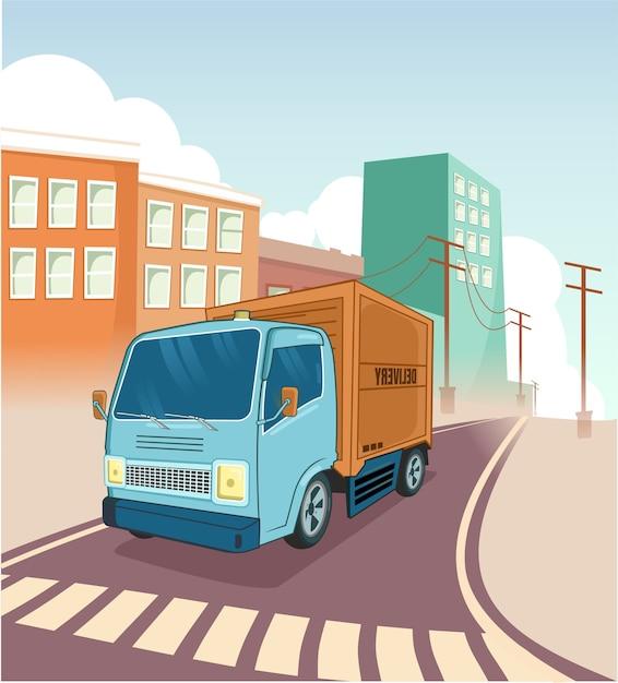 Грузовик доставки транспорта в городе город вектор Premium векторы