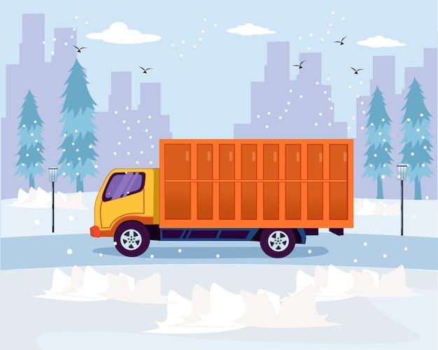 Travel transportation truck run in the winter season flat design Premium Vector