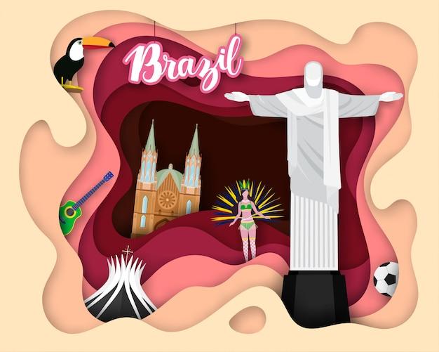 Бумагорезка дизайнерская travel travel brazil Premium векторы
