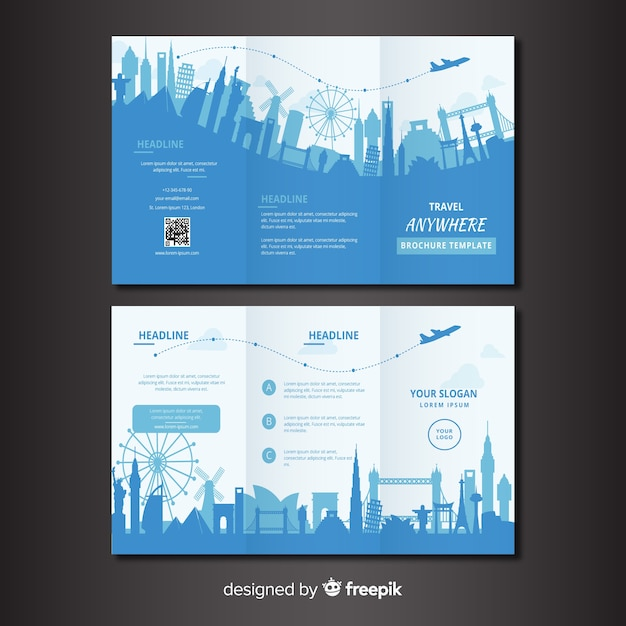 Travel trifold brochure template Free Vector