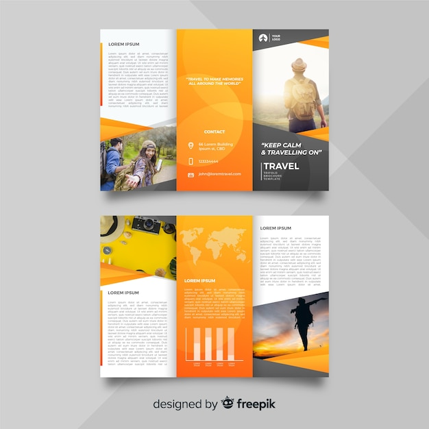 Travel trifold brochure template Premium Vector