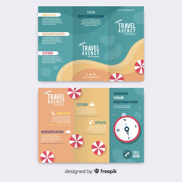 Travel trifold brochure Free Vector