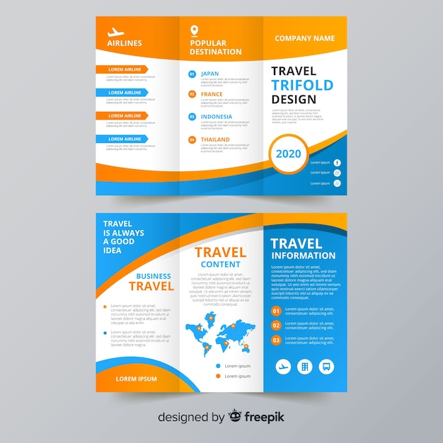 Travel trifold flyer template Free Vector