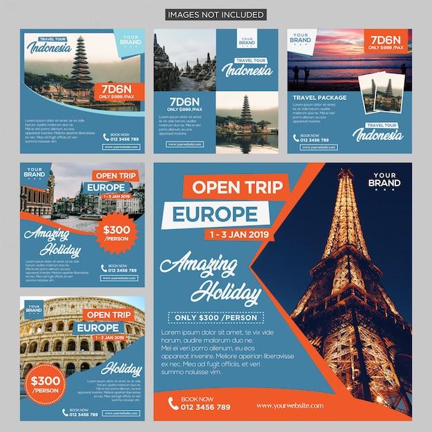 Travel trip social media post design template premium vector Premium Vector