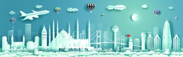 Travel to turkey landmarks of europe with panorama view . Premium Vector