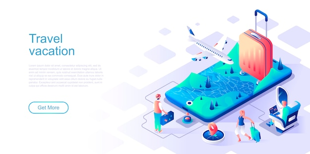 Travel vacation isometric landing page vector template. Premium Vector