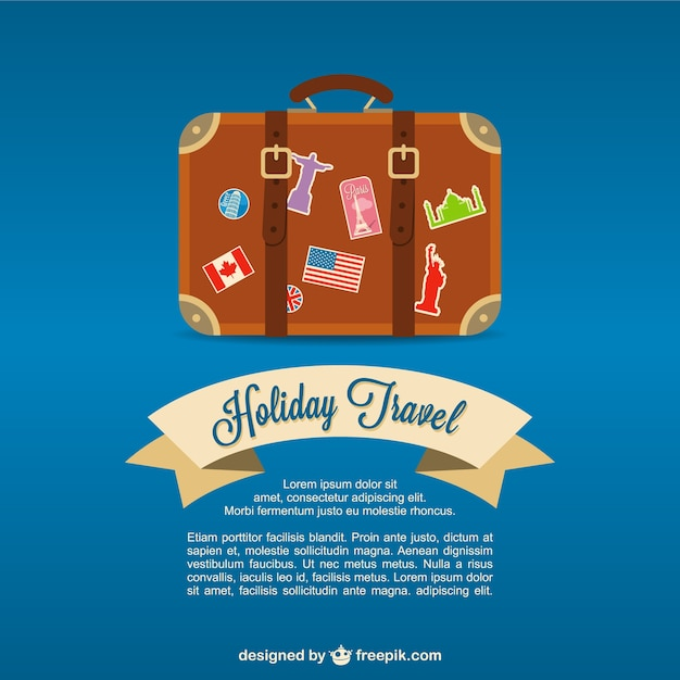 Travel valise background Free Vector