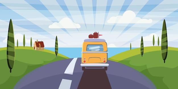 旅行バンキャンピングカー、道路上のバスは夏休みに海に行く Premiumベクター