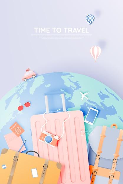Travel various items in paper art style Premium Vector