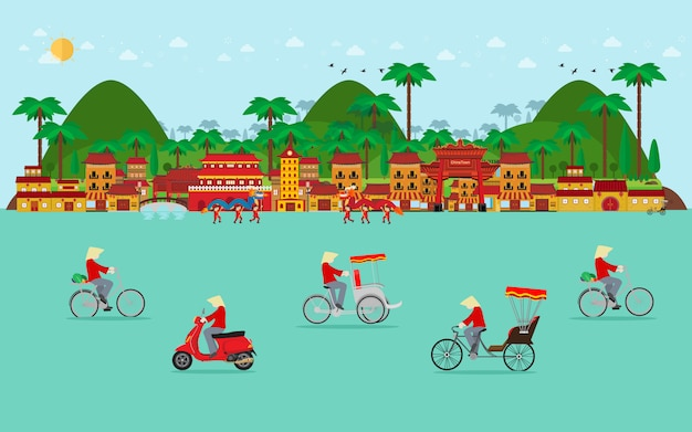 Travel to vietnam, transportation in vietnam. bicycle, tricycle, scooter. flat design Premium Vector