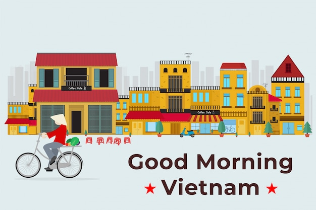 Travel to vietnam. vietnamese ride bicycle on old city