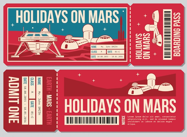 Travel voucher ticket. holiday on mars promo action. ticket to mars planet Premium Vector