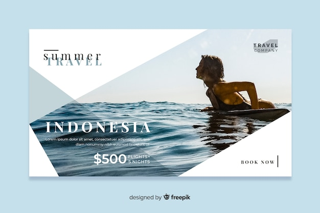 Travel web banner with photo Free Vector