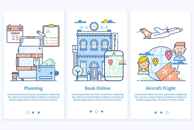 Travel web infographic.website illustration. plan your vacation.modern blue interface ux ui gui screen template for smart phone or web site banners.modern thin linear stroke icons. Premium Vector