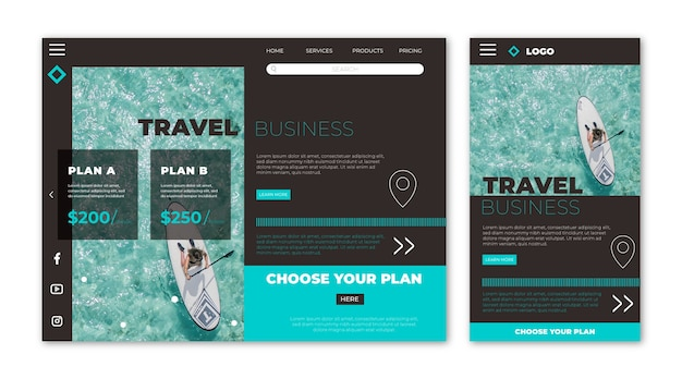 Travel website landing page Free Vector