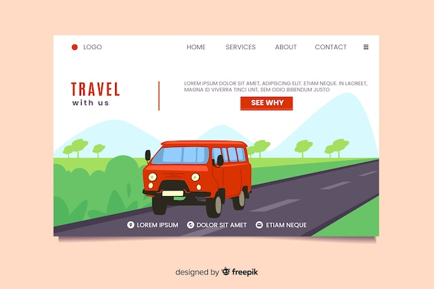 Travel with us landing page Free Vector