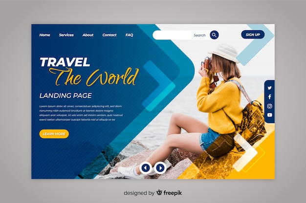 Travel the world landing page with photo Free Vector