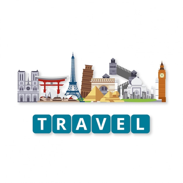 Travel world landmarks set with lettering Free Vector