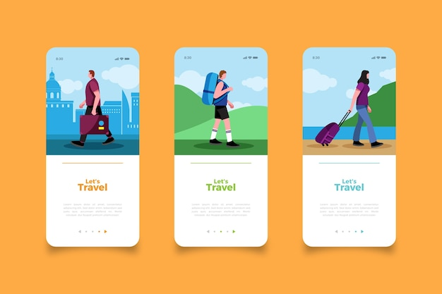 Travel the world mobile app screens Free Vector