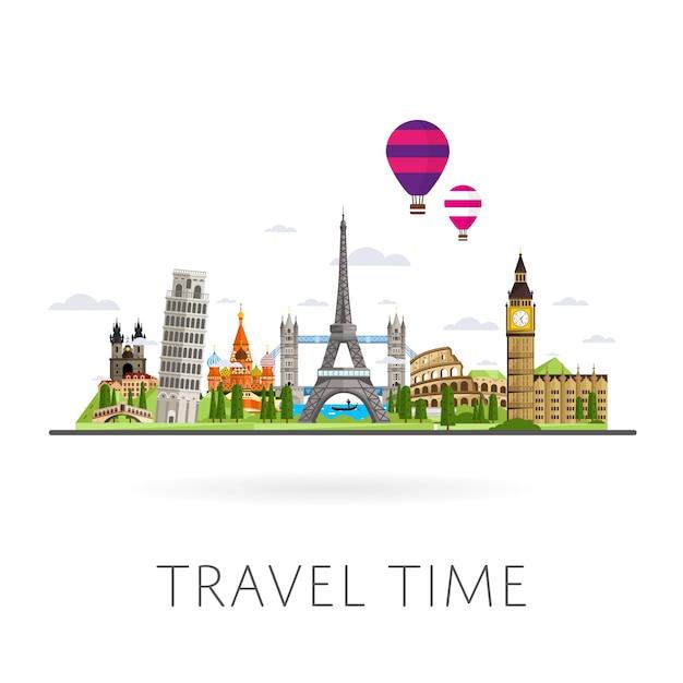 Travel the world, monument concept, road trip, Premium Vector