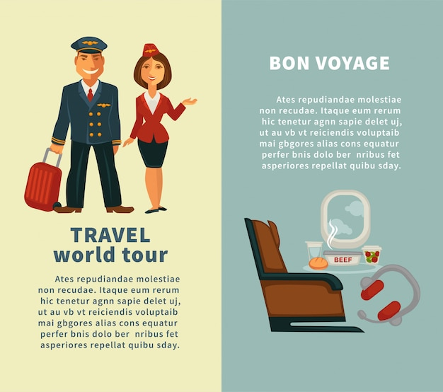 Travel world tour and bon voyage vertical posters Premium Vector