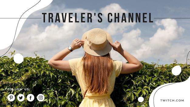 Travel youtube cover Vettore gratuito
