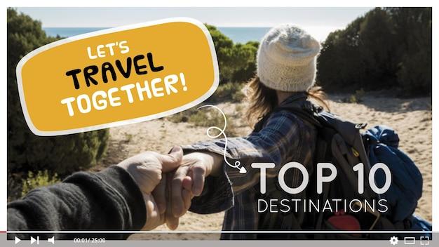 Travel youtube thumbnail Free Vector