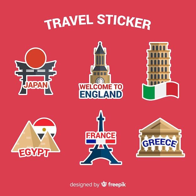Коллекция стикеров travel Бесплатные векторы