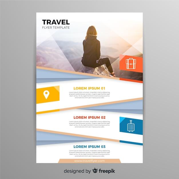 Traveler around the world flyer Free Vector