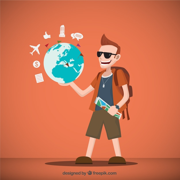 Traveler illustration with a world map Vector   Free Download