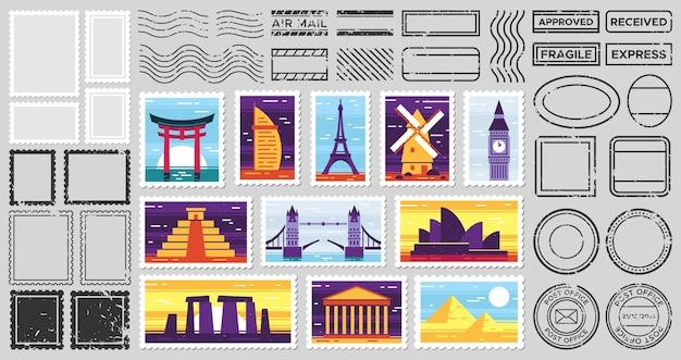 Timbro postale della posta del viaggiatore. cartolina di attrazioni della città, francobollo fragile e cornici postali Vettore gratuito
