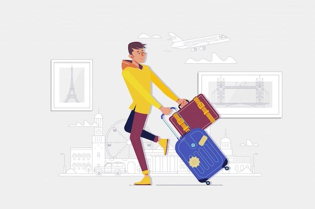 Traveler man with a suitcase goes to the airport Premium Vector