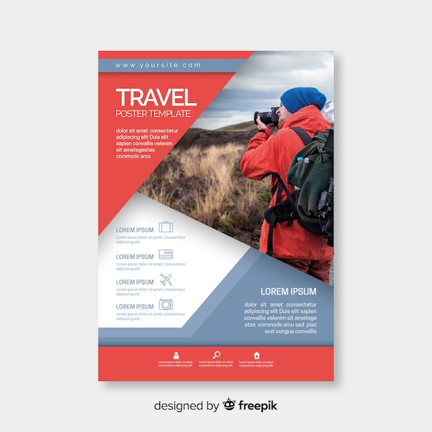 Traveler with camera flyer template Free Vector